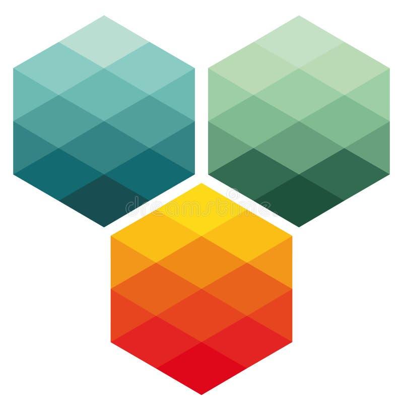 abstrakt färgrika kuber royaltyfri illustrationer