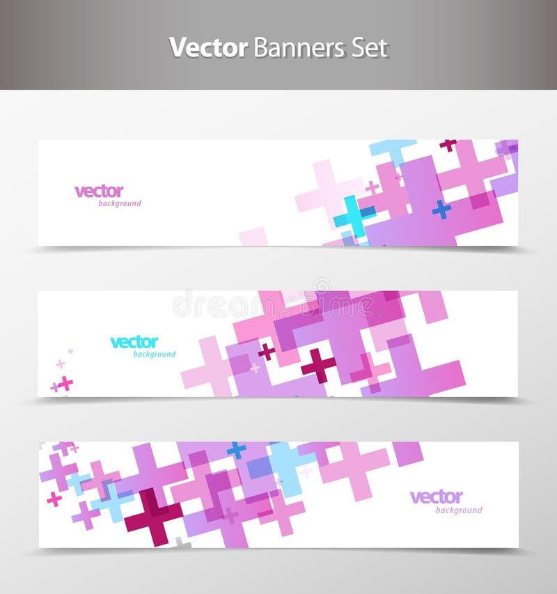 abstrakt färgrika titelrader ställde in rengöringsduk vektor illustrationer