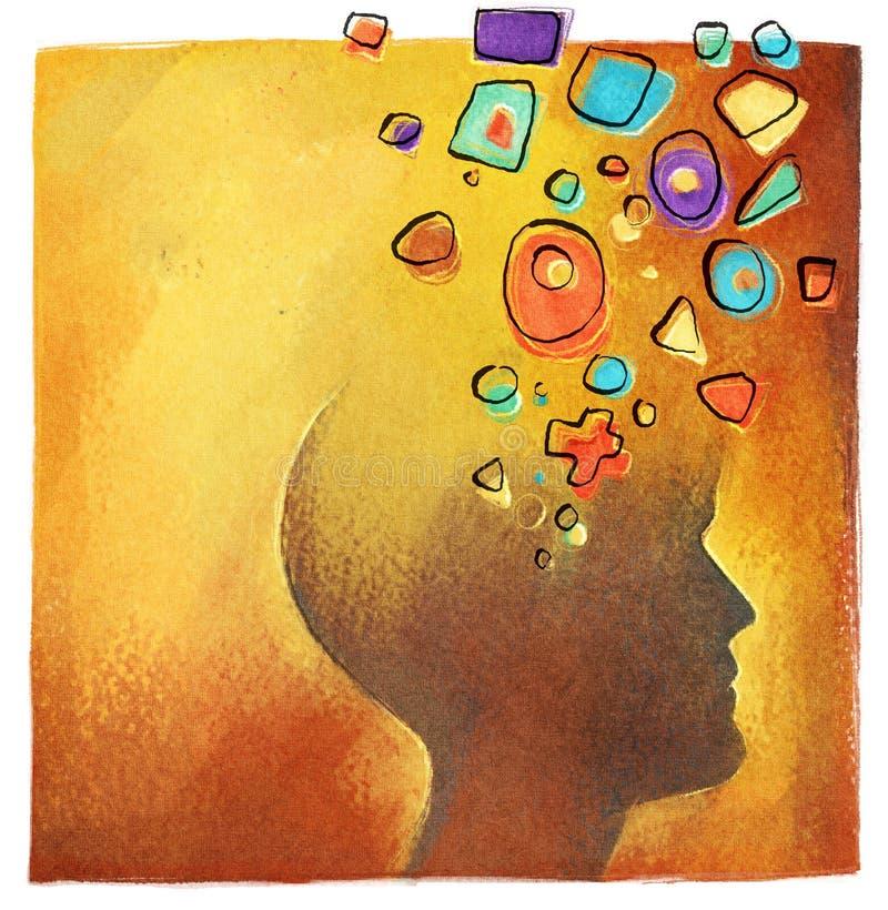 abstrakt färgrikt idérikt head idésymbol arkivbilder