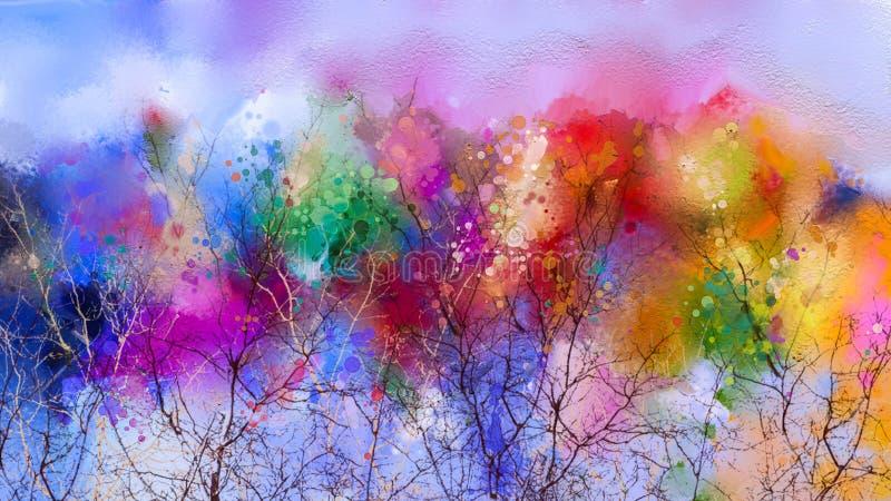 Abstrakt färgrikt landskap för olje- målning på kanfas royaltyfri illustrationer