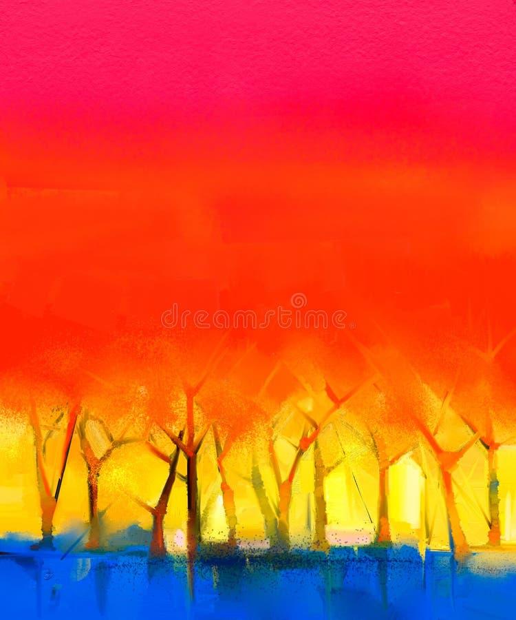 Abstrakt färgrikt landskap för olje- målning på kanfas stock illustrationer