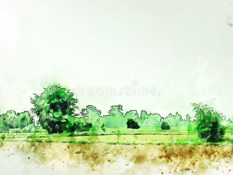 Abstrakt färgrikt landskap för trädlandfält på vattenfärgillustrationmålning stock illustrationer