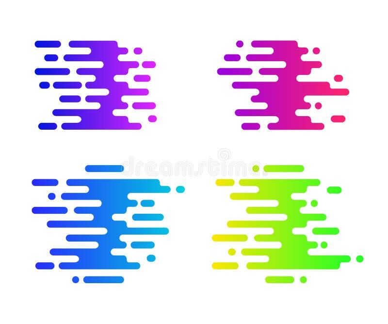 Abstrakt färgrikt lutningtecken för din design Hastighetssymbolsuppsättning royaltyfri illustrationer