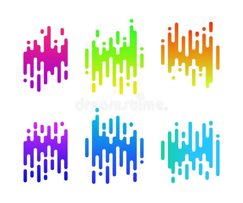 Abstrakt färgrikt lutningtecken för din design Hastighetssymbolsuppsättning stock illustrationer