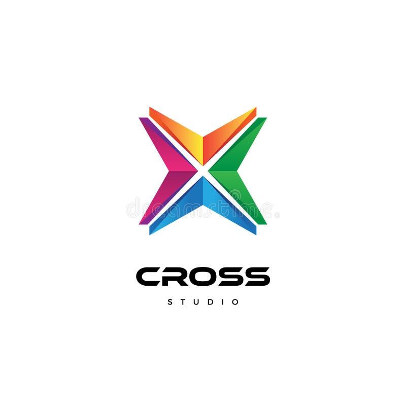 Abstrakt färgrikt regnbågekors Logo Business Company Logo Template stock illustrationer