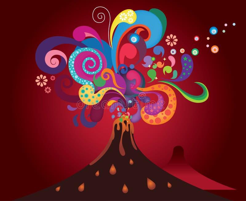 abstrakt färgrikt vulkaniskt vektor illustrationer