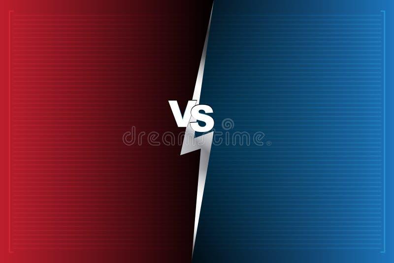 Abstrakt för bakgrund som skärm kontra är röd och som är blå VS bokstäver royaltyfri illustrationer