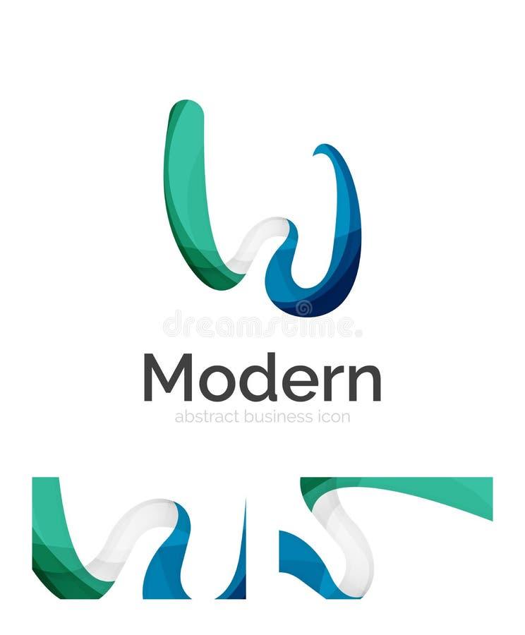 Abstrakt för bandlogo för virvel 3d mall med design för företags identitet för affärskort royaltyfri illustrationer