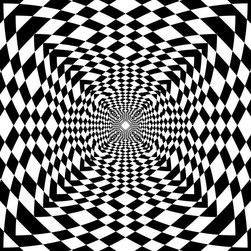 Abstrakt för geometrictmodell för op konst svartvit bakgrund royaltyfri illustrationer