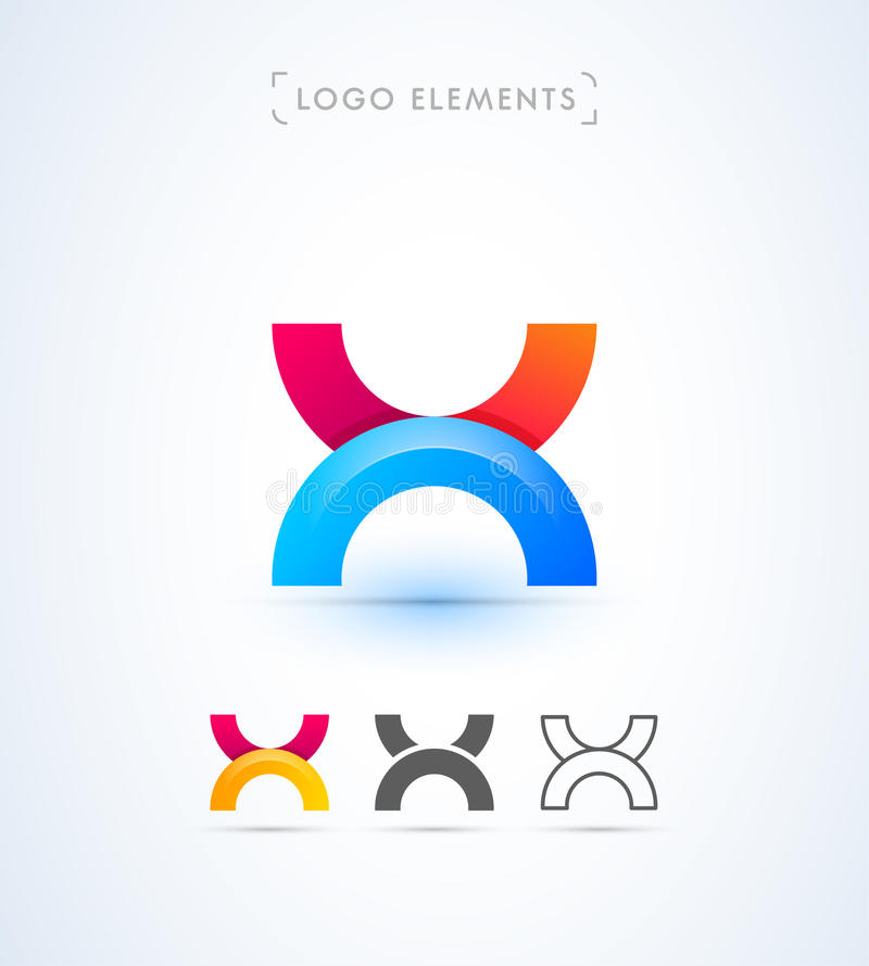 Abstrakt för origamistil för bokstav X mall för logo Applikationsymbol vektor illustrationer