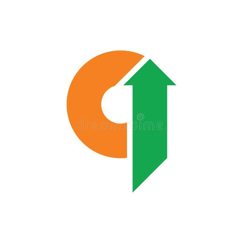 Abstrakt för pillogo för bokstäver q geometrisk vektor royaltyfri illustrationer