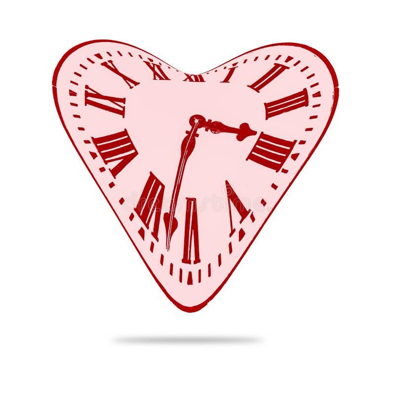 Abstrakt förvriden stämpelur för förälskelse hjärta stock illustrationer