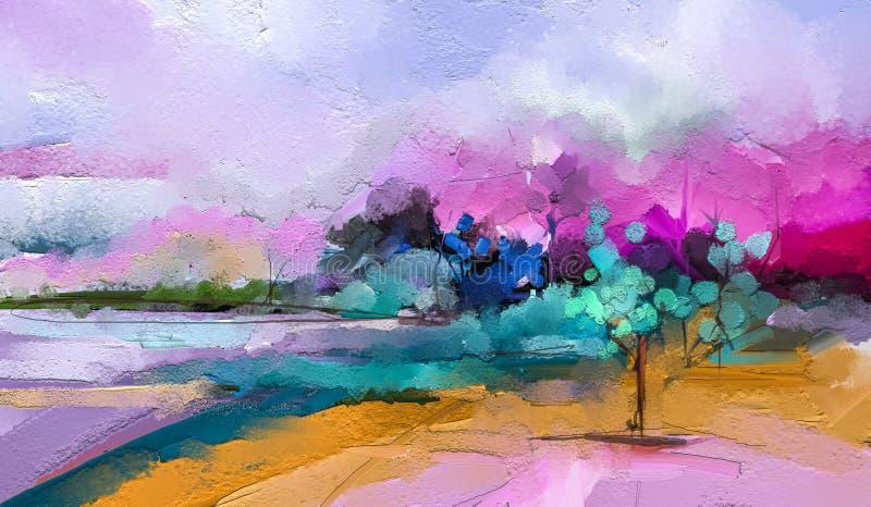 Abstrakt f?rgrik olje- m?lning p? kanfas Halv abstrakt bild av trädet, fält, äng Bakgrund för landskapmålningar stock illustrationer