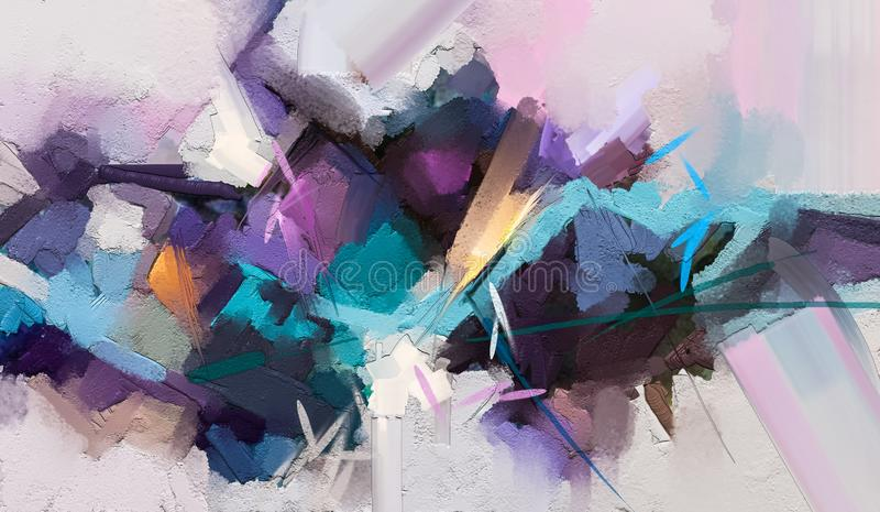 Abstrakt f?rgrik olje- m?lning p? kanfastextur Abstrakt samtida konst f?r bakgrund stock illustrationer