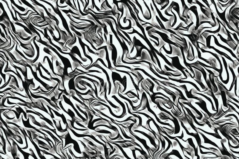 Abstrakt fala i wygina się wzory dla psychodelicznego monochromatycznego tła royalty ilustracja