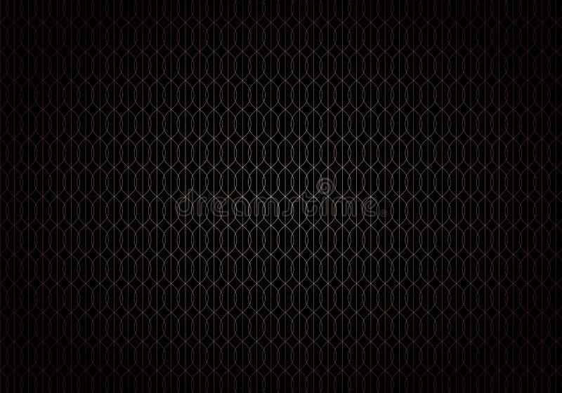 Abstrakt fala wykłada złocistego gradientowego bezszwowego trellis wzór na czarnym tła art deco stylu ilustracji
