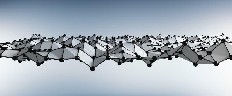 Abstrakt fala z kropkami i linii 3D renderingiem ilustracji
