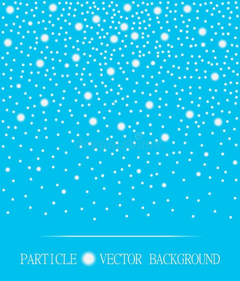 Abstrakt fallande cyan bakgrund för snöpartiklar också vektor för coreldrawillustration royaltyfri illustrationer