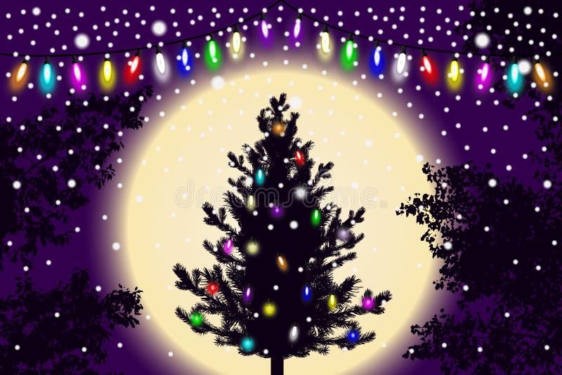Abstrakt fallande snö, julgran för nytt år med ljusgarneringar och kontur av trädsidor på violett solnedgångbakgrund stock illustrationer