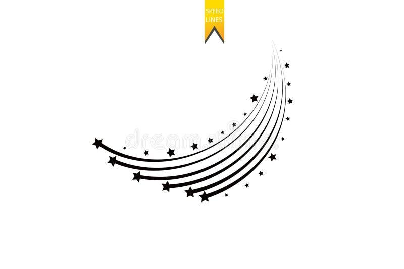 Abstrakt fallande stjärna - svart skyttestjärna med den eleganta stjärnaslingan på vit bakgrund - Meteoroid, komet, asteroid stock illustrationer