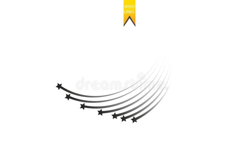 Abstrakt fallande stjärna - svart skyttestjärna med den eleganta stjärnaslingan på vit bakgrund - Meteoroid, komet, asteroid vektor illustrationer