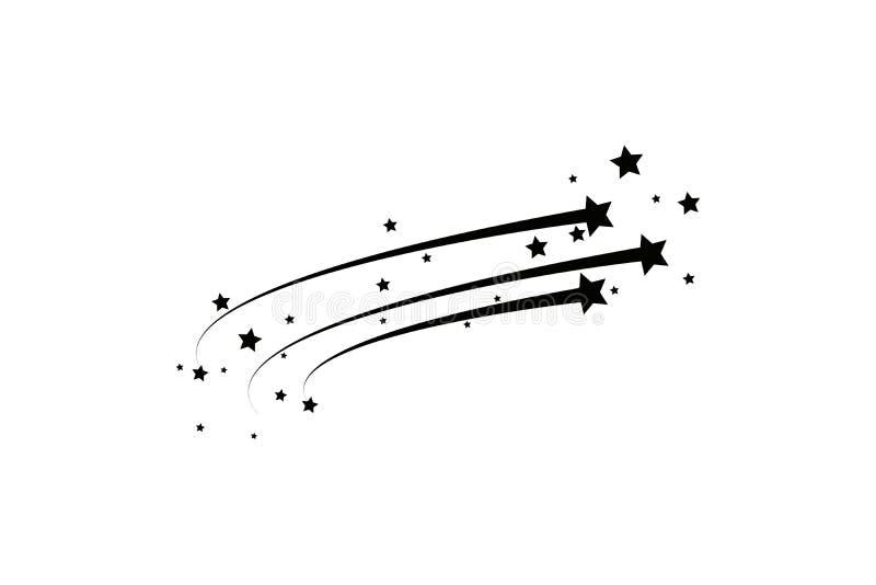 Abstrakt fallande stjärna - svart skyttestjärna med den eleganta stjärnaslingan på vit bakgrund - Meteoroid, komet, asteroid royaltyfri illustrationer