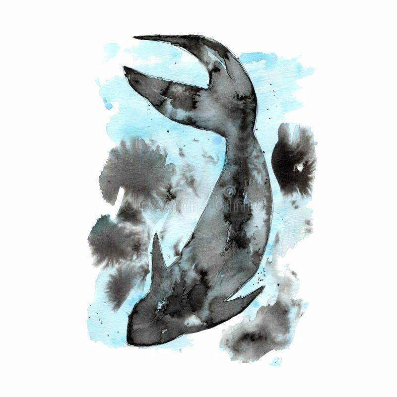 Abstrakt fantasifiskillustration Vattenfärgillustration i blåa svarta signaler av fisken som målas av handen Kopiera utrymme Vatt vektor illustrationer