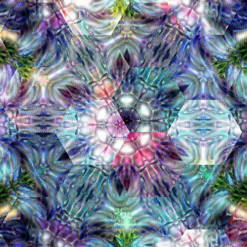 Abstrakt fantasiultraviolet, rosa färger och blå geometrisk sexhörningsbakgrund vektor illustrationer