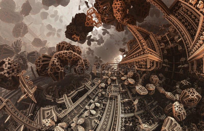 Abstrakt fantastisk affisch eller bakgrund Futuristisk sikt från inre av fractalen Arkitektonisk modell stock illustrationer
