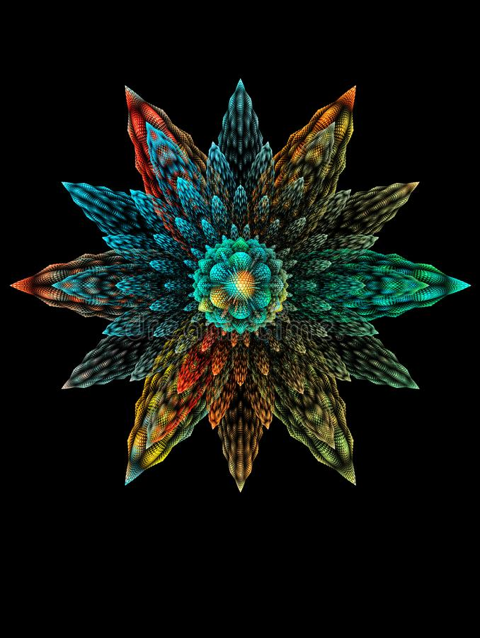 Abstrakt fantastisk blomma för fractal 3D på svart bakgrund stock illustrationer