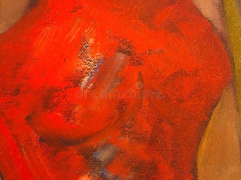 Abstrakt farby nafciana czerwona tekstura na kanwie, czerwony farby tło ilustracja wektor