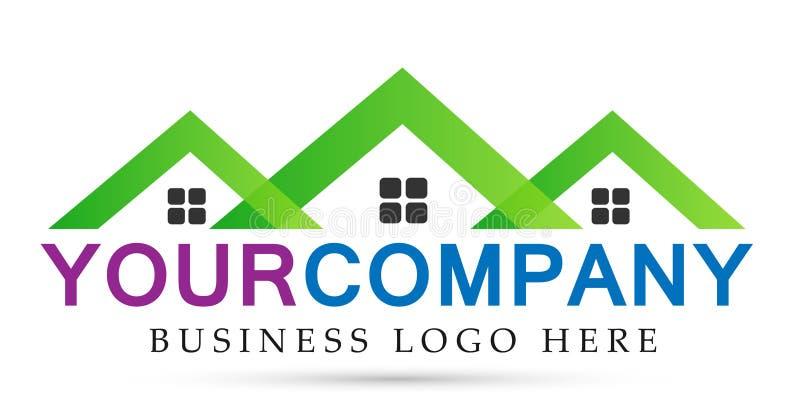 Abstrakt fastighethustak och hem- vektor för design för symbol för logovektorbeståndsdel på vit bakgrund royaltyfri illustrationer