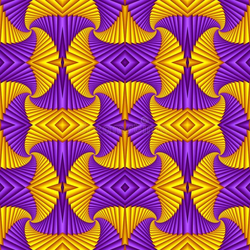 Abstrakt festlig modell för sömlös virvel, purpurfärgat som är gul Tiled m?nstrar Geometrisk mosaik Utm?rkt f?r gobel?ng, matta,  vektor illustrationer