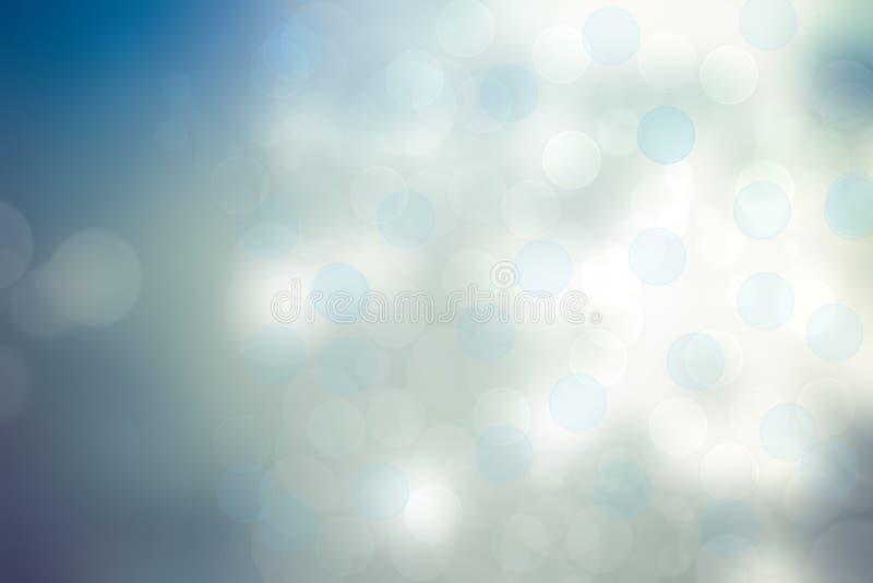 Abstrakt festligt ljus - textur för bakgrund för blåttsilverbokeh med färgrika cirklar och bokehljus H?rlig bakgrund med utrymme royaltyfri illustrationer