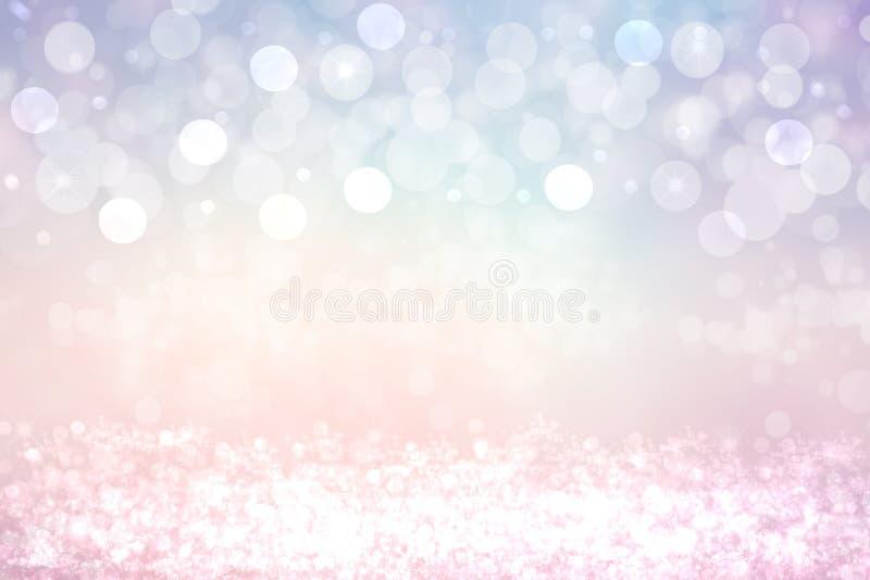 Abstrakt festligt rosa vitt skina blänker bakgrundstextur med mousserande stjärnor Gjort f?r valentin, br?llop, inbjudan eller royaltyfria foton