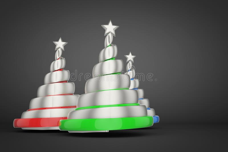 Abstrakt festligt spiralt julträd som göras av silverband med stjärnan 3D framför illustrationen på svart bakgrund royaltyfri illustrationer