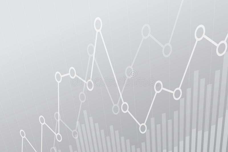 Abstrakt finansiellt diagram med uptrendlinjen graf på grå bakgrund royaltyfri illustrationer