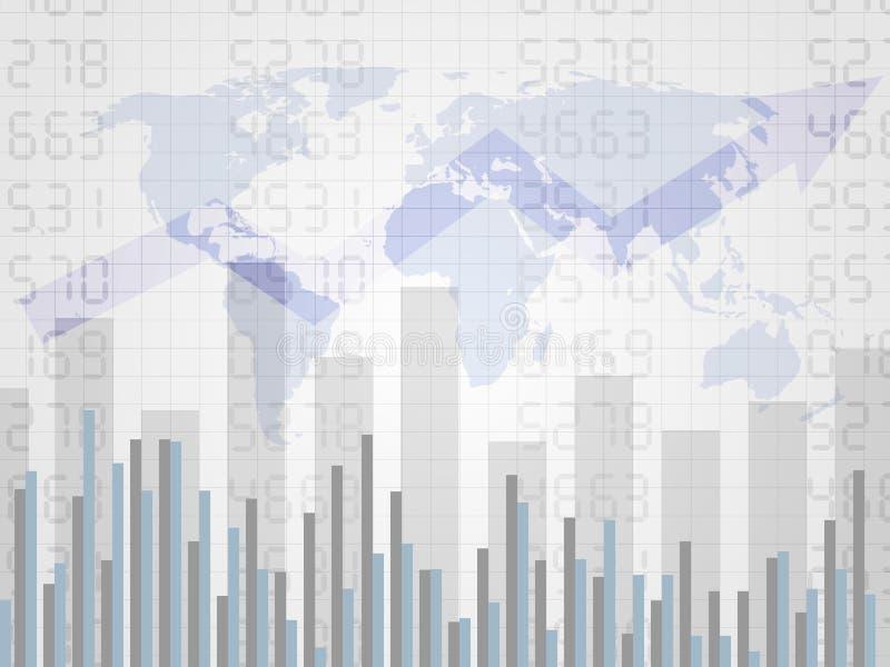 Abstrakt finansiellt diagram med uptrendlinjen graf på nummer och världskarta Undersöka pinnegrafen av investeringhandeln på värl stock illustrationer