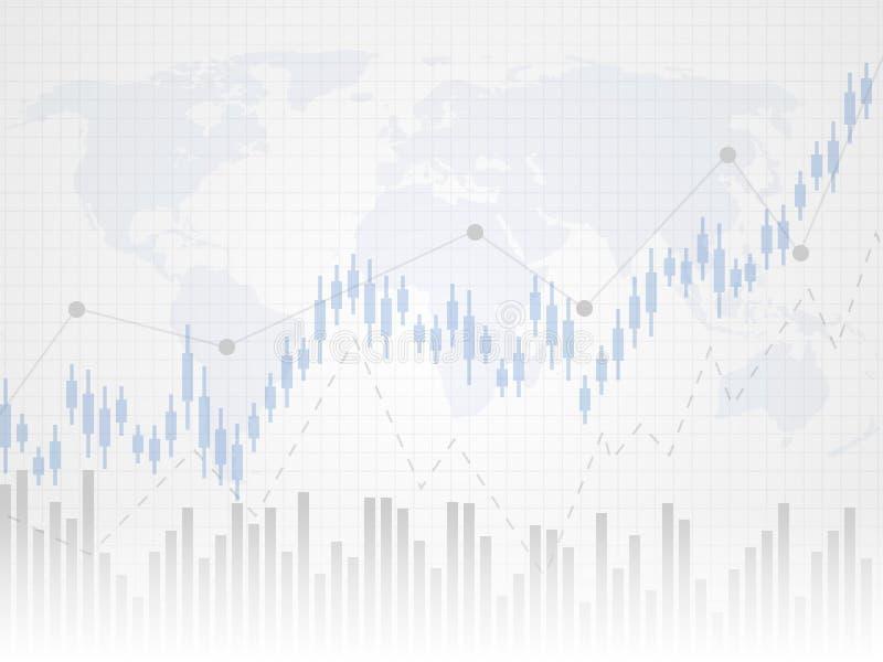 Abstrakt finansiellt diagram med uptrendlinjen graf Undersöka pinnegrafen av investeringhandeln på världskarta som bakgrund stock illustrationer