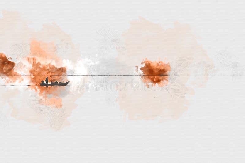 Abstrakt fiskebåt i havet på smärta bakgrund för vattenfärg vektor illustrationer