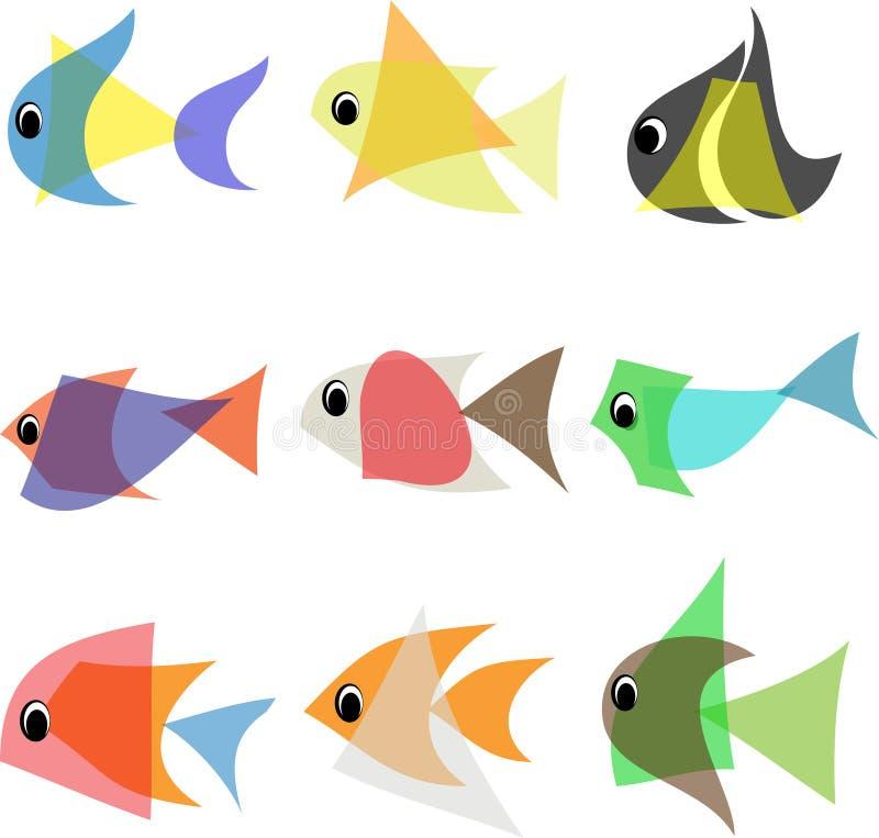Abstrakt fiskuppsättning royaltyfri illustrationer