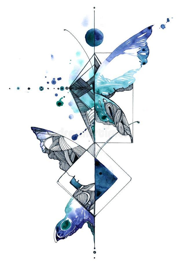 abstrakt fjäril royaltyfri illustrationer