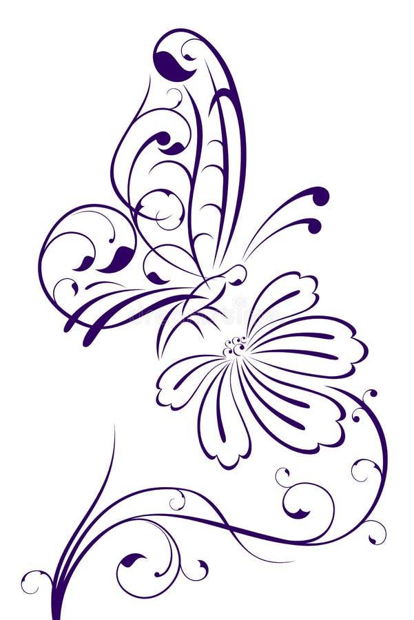 abstrakt fjärilsblomma stock illustrationer