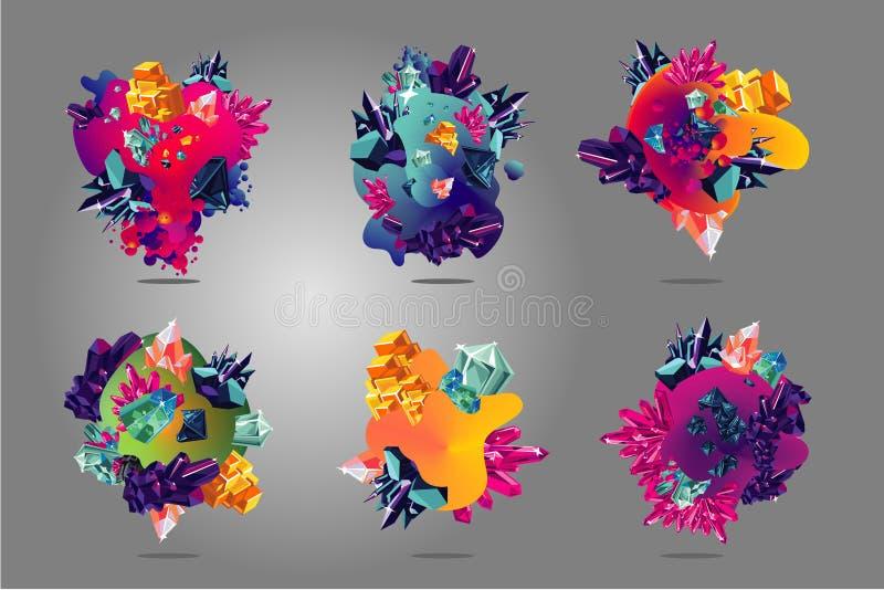 Abstrakt fläcksamling med vätskeformer och polygonestenar Organisk vektorteckenuppsättning Vibrerande lutningbakgrund stock illustrationer