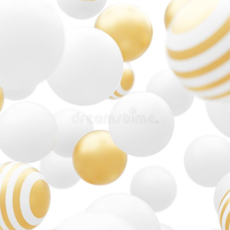 Abstrakt flöda vita och guld- partiklar royaltyfri illustrationer
