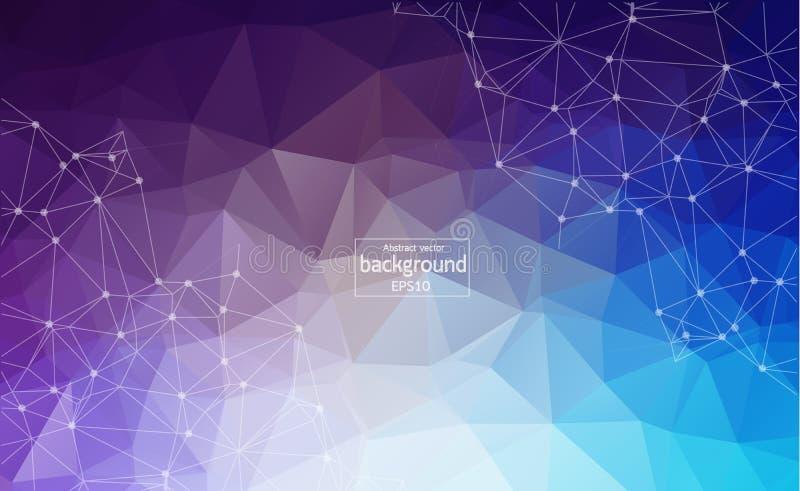 Abstrakt flerfärgad Polygonal utrymmebakgrund med förbindande prickar och linjer Anslutningsstruktur Vektorvetenskapsbakgrund Po stock illustrationer
