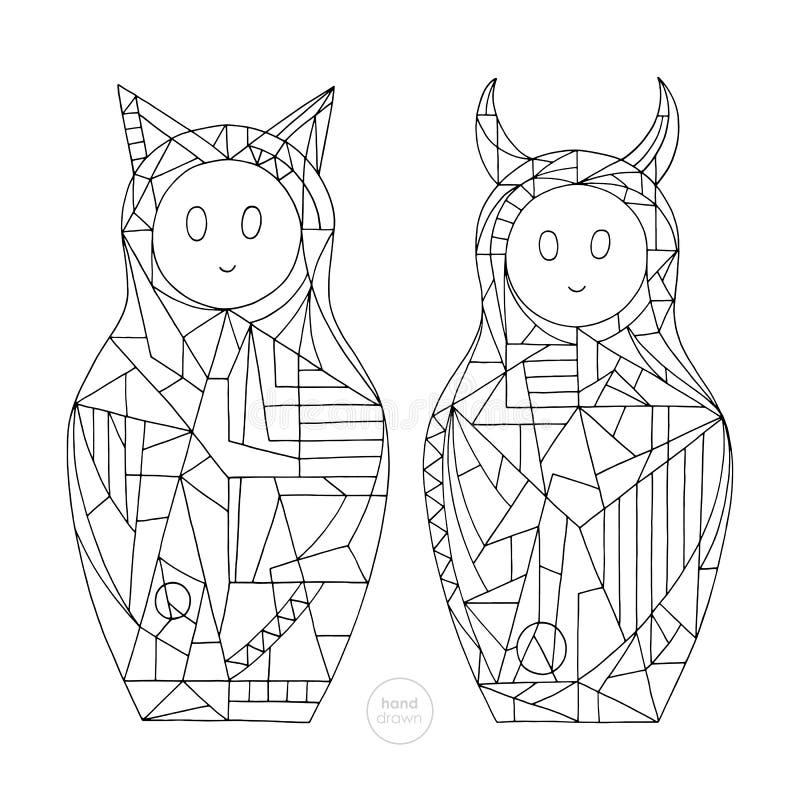 Abstrakt flickafärgläggningbok Räcka utdragna katt- och jäkeltecken vektorillustrationen Stiliserat bygga bo dockaöversikter royaltyfri illustrationer
