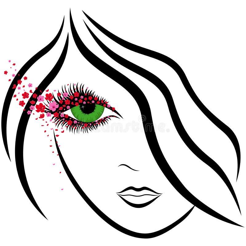 Abstrakt flickaframsida med det gröna ögat och sakura florets stock illustrationer