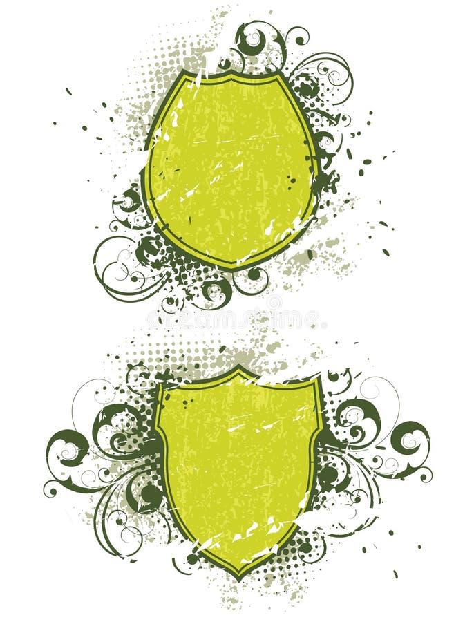 abstrakt florasköldar royaltyfri illustrationer
