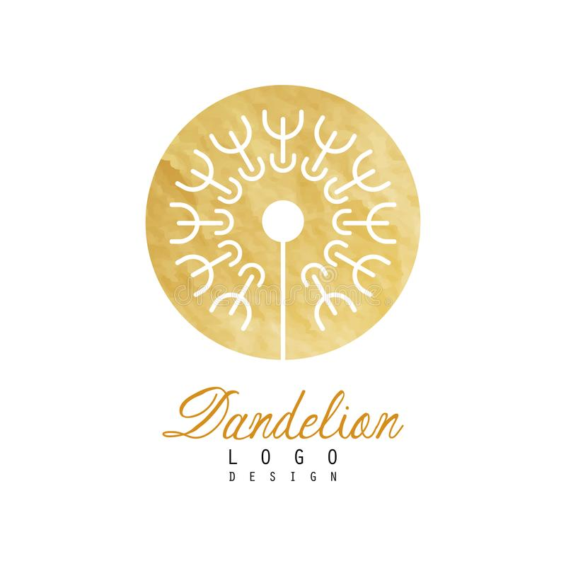 Abstrakt fluffig maskros i guld- texturerad cirkel Original- blommasymbol Botanisk etikett för naturliga skönhetsmedel royaltyfri illustrationer